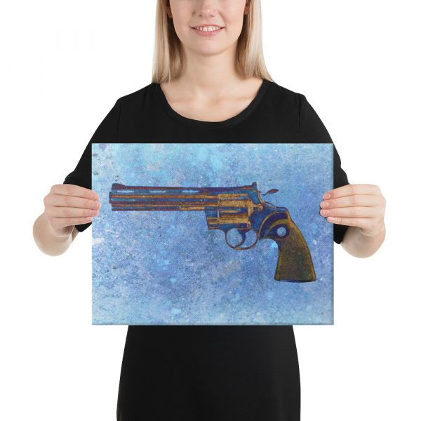 Colt Python 357 Magnum 6 inches Barrel on Blue Background Stretched Canvas 12x16