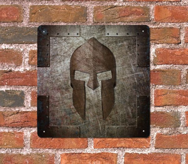Spartan Helmet Metal Print on brick wall