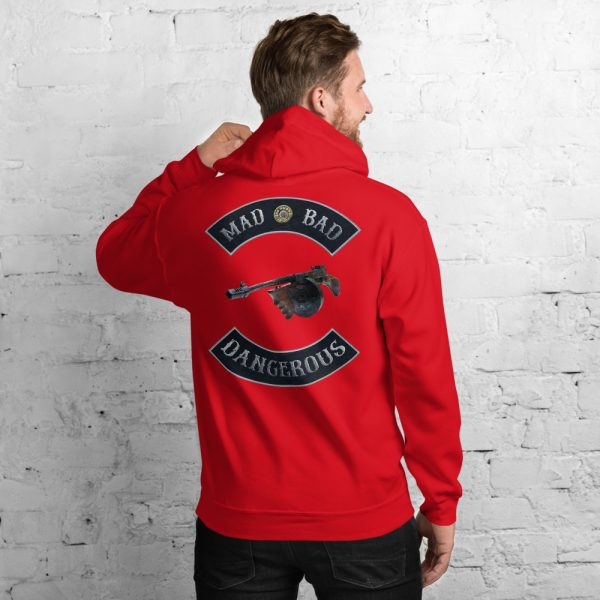 Mad Bad and Dangerous with Tommy Gun Unisex Hoodie in Red
