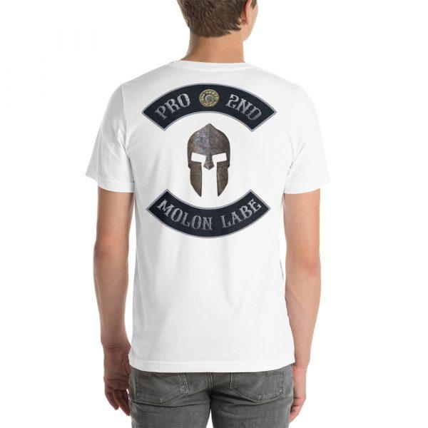 White Pro 2nd Amendment Molon Labe with Spartan Helmet Short-Sleeve Unisex T-Shirt