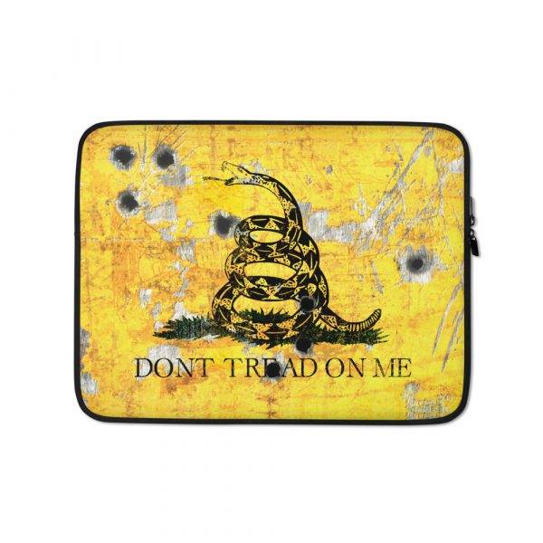 Gadsden Flag on Metal Plate with Bullet holes Print on Laptop Sleeve - Don't tread on Me Laptop, Surface or MacBook sleeve.