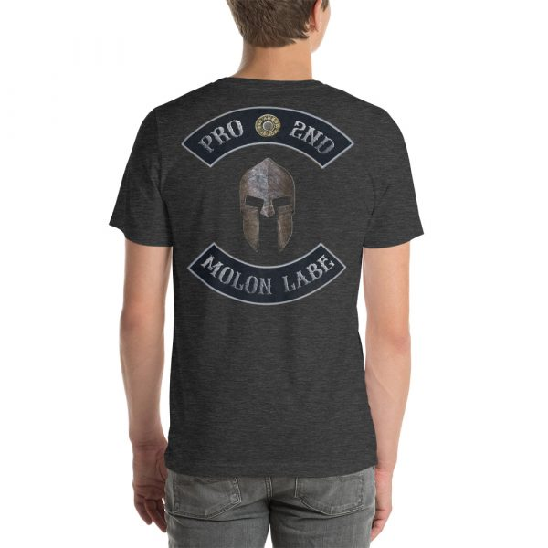 Dark Heather Pro 2nd Amendment Molon Labe with Spartan Helmet Short-Sleeve Unisex T-Shirt