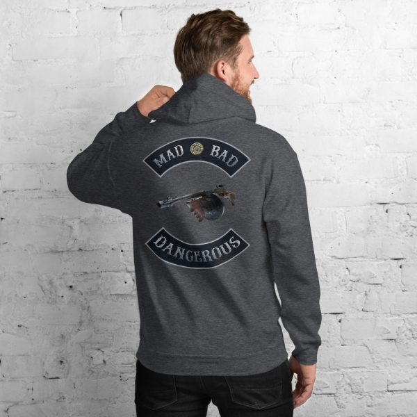 Dark Heather Mad Bad and Dangerous with Tommy Gun Unisex Hoodie