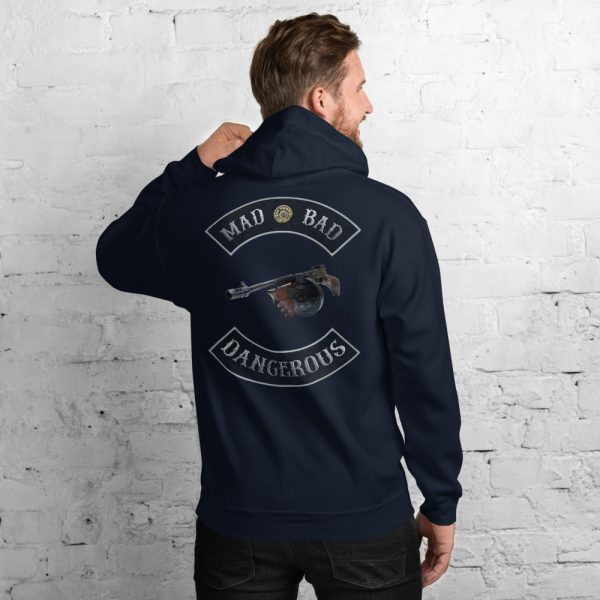 Navy Blue Mad Bad and Dangerous with Tommy Gun Unisex Hoodie