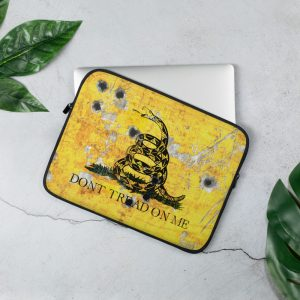 13 inches Gadsden Flag on Metal Plate with Bullet holes Print on Laptop Sleeve - Don't tread on Me Laptop, Surface or MacBook sleeve.