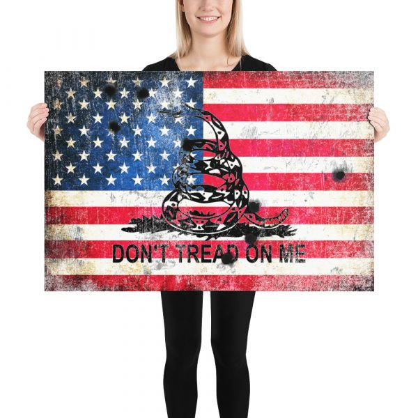 Don't tread on Me - Gadsden and American Flag composition with Bullet Holes Museum-quality Art Print 24x36