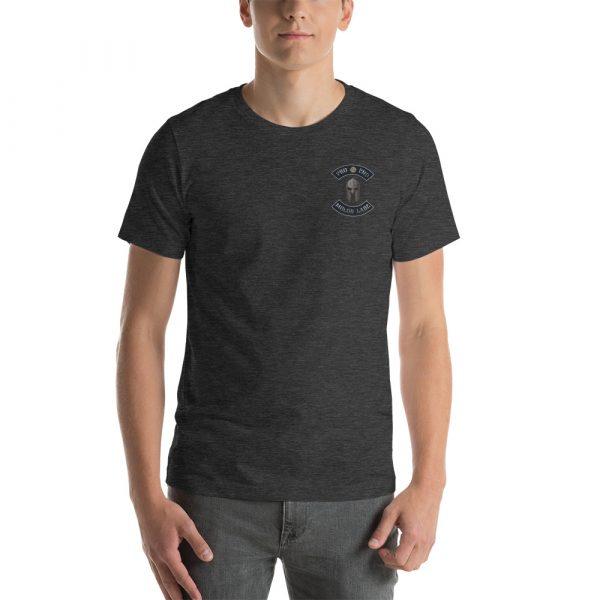 Front Dark Heather Pro 2nd Amendment Molon Labe with Spartan Helmet Short-Sleeve Unisex T-Shirt