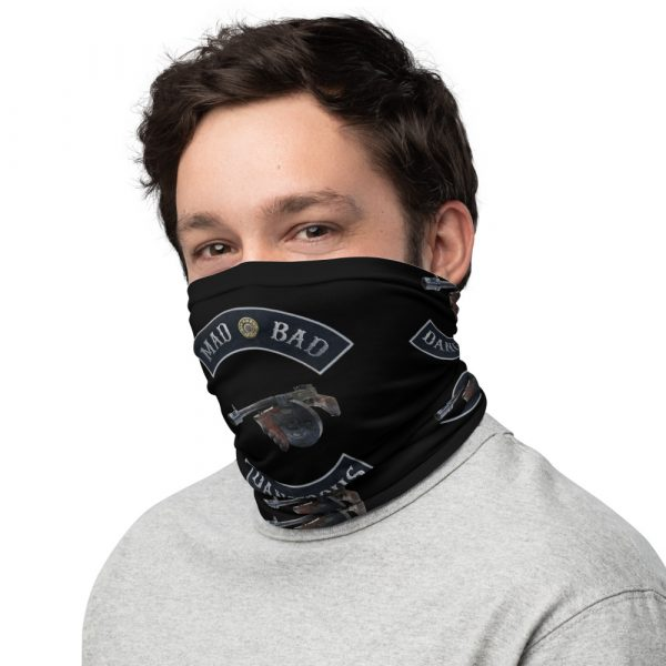 Mad Bad and Dangerous with Tommy Gun Black Neck Gaiter left view