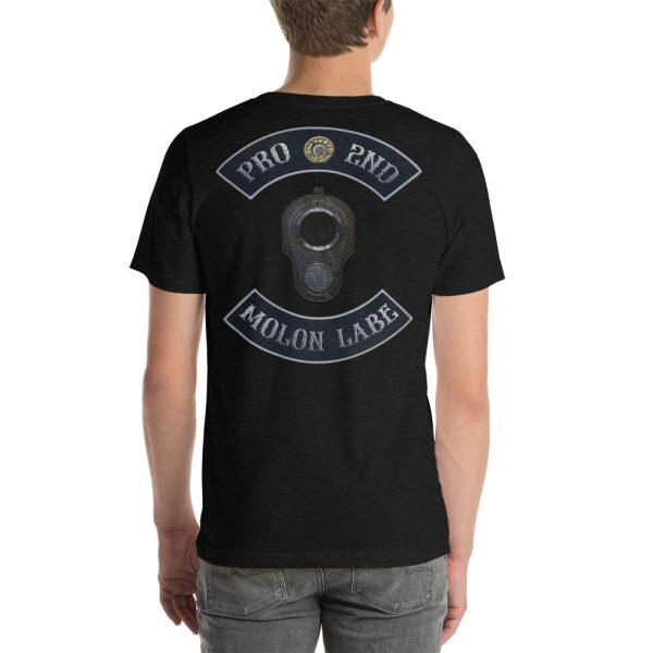 Black Heather Pro 2nd Amendment Molon Labe with M1911 Muzzle Short-Seeve Unisex T-Shirt