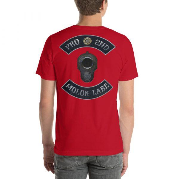Red Pro 2nd Amendment Molon Labe with M1911 Muzzle Short-Seeve Unisex T-Shirt