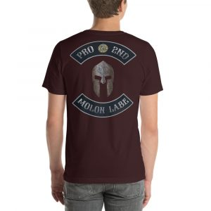 Oxblood Pro 2nd Amendment Molon Labe with Spartan Helmet Short-Sleeve Unisex T-Shirt