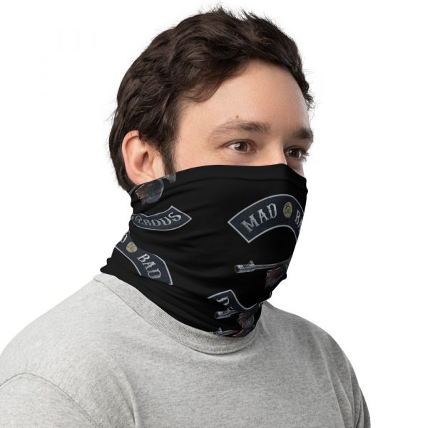 Mad Bad and Dangerous with Tommy Gun Black Neck Gaiter right view