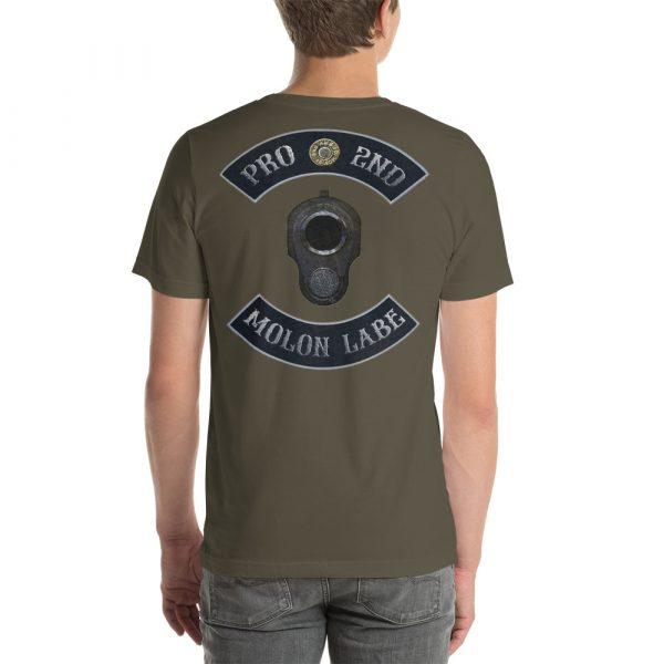 Army Grey Pro 2nd Amendment Molon Labe with M1911 Muzzle Short-Seeve Unisex T-Shirt