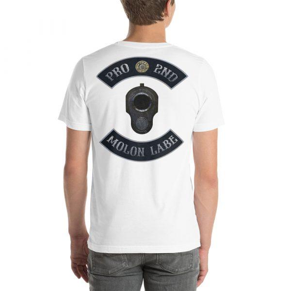 White Pro 2nd Amendment Molon Labe with M1911 Muzzle Short-Seeve Unisex T-Shirt