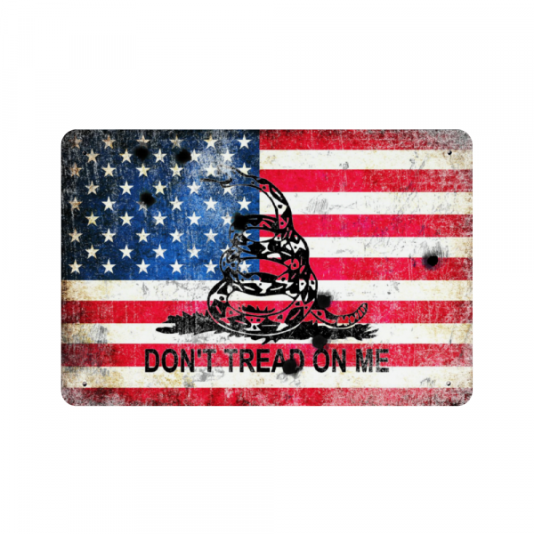 American and Gadsden Flag on Distressed Metal with Bullet Hole - Don't tread on Me - Made in USA Print on Metal