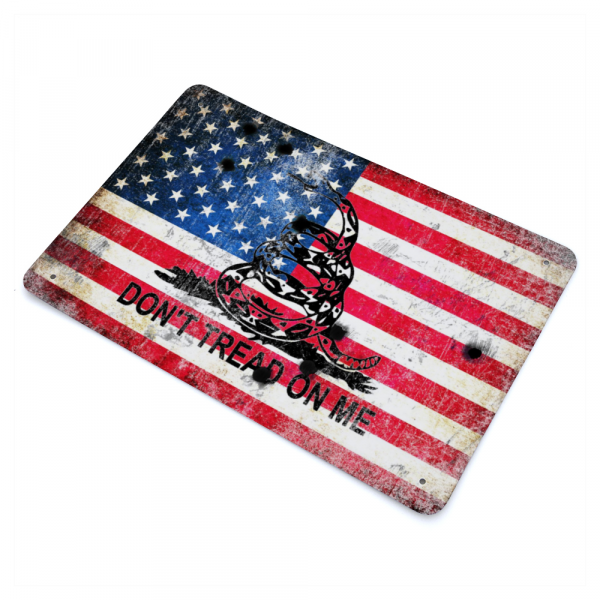 Side way view of our American and Gadsden Flag on Distressed Metal with Bullet Hole - Don't tread on Me - Made in USA Print on Metal