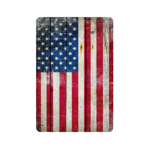 Distressed American Flag Vertical Metal Wall Sign Plaque - Made in the USA Print on Metal