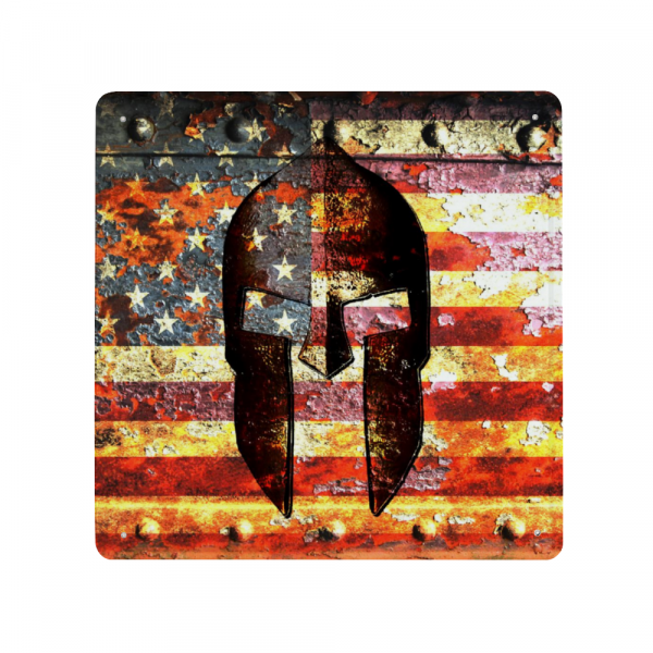 Molon Labe Themed Print- Spartan Helmet on Rusted American Flag - Made in USA Print on Metal
