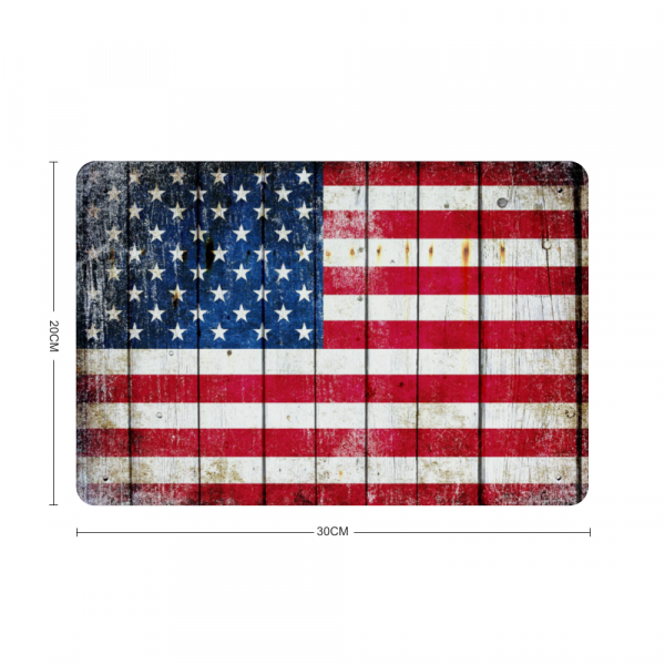 Dimension of our Distressed American Flag Horizontal Metal Wall Sign Plaque on brick wall - Made in the USA Print on Metal