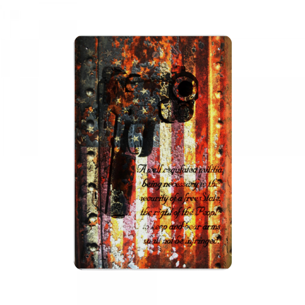M1911 Pistol and 2nd Amendment on Rusted American Flag - Made in the USA Print on Metal