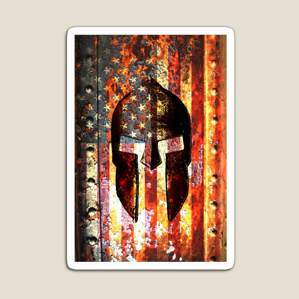 American Flag And Spartan Helmet On Rusted Metal Door - Molon Labe Magnet