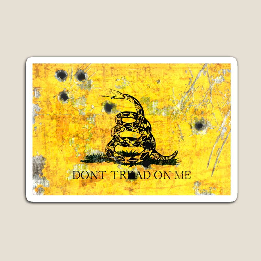 Gadsden Flag on Distressed Metal With Bullet Holes magnet