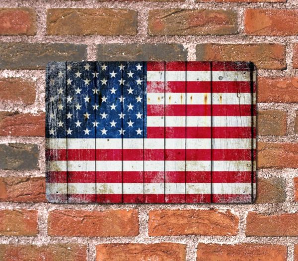 Distressed American Flag Horizontal Metal Wall Sign Plaque on brick wall - Made in the USA Print on Metal