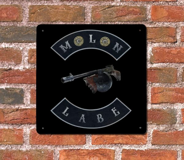 Molon Labe with Tommy Gun and Double 45ACP Case Heads Wall Plaque – Made in USA Print on Metal hung on brick wall