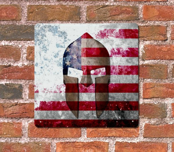 Molon Labe - Spartan Helmet on Distressed American Flag on brick wall - Made in USA Print on Metal