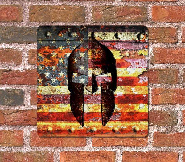 Molon Labe - Spartan Helmet on Rusted American Flag on brick wall - Made in USA Print on Metal