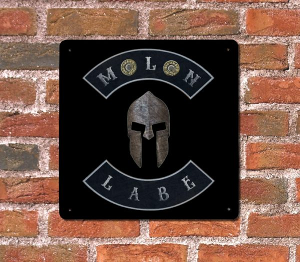 Molon Labe with Spartan Helmet and Double 45 ACP Case Heads – Made in USA Print on Metal Hung on brick wall
