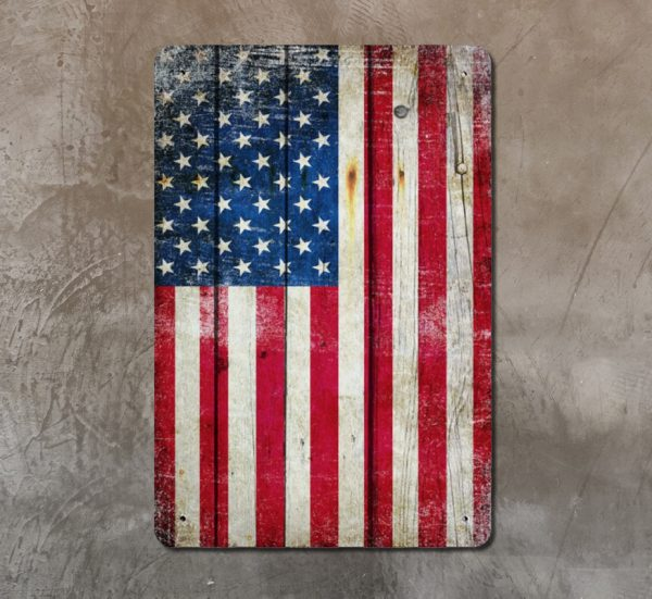 Distressed American Flag Vertical Metal Wall Sign Plaque on concrete wall - Made in the USA Print on Metal