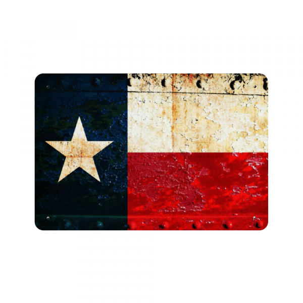 This beautiful print depicts a Texas Flag on a rusted, riveted gate and is printed on a metal plaque