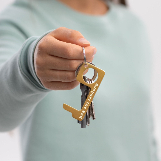 Engraved Brass No Touch Tool - Support the 2nd door opener on key chain