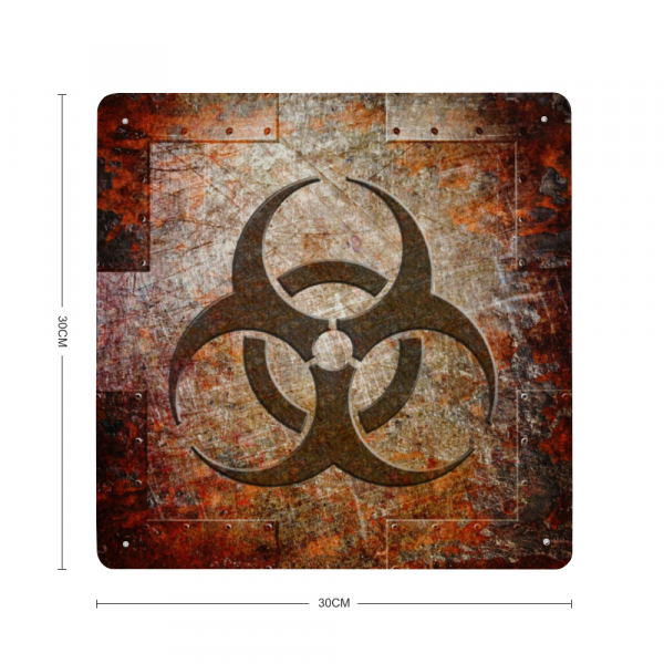 Bio Hazard Symbol on Rusted Riveted Metal Plate with dimension
