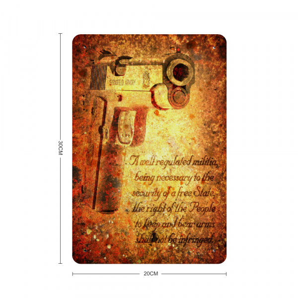 M1911 Pistol and 2nd Amendment on Rust - Made in the USA Print on Metal with dimension