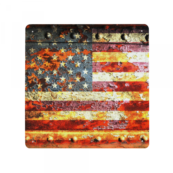 American Flag On Rusted Riveted Metal Door Print on a Square Metal Sheet Made in the USA