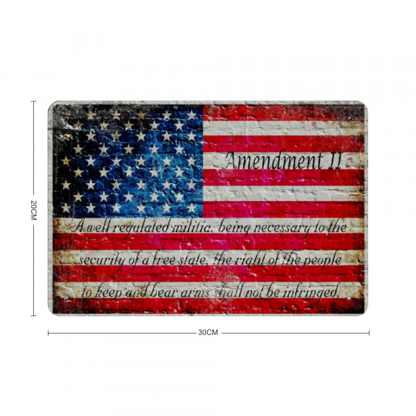 American Flag and 2nd Amendment Print on Metal Sheet Made in the USA with dimensions