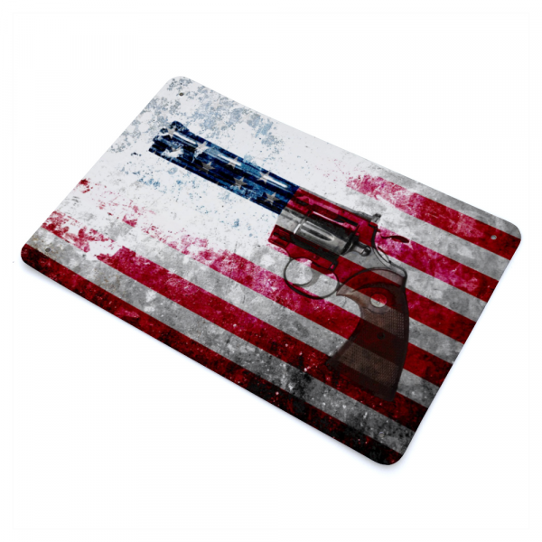 Colt Python 357 Mag on Distressed American Flag Print on Metal Made in America side way view