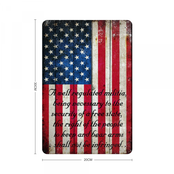 American Flag 2nd Amendment Vertical Print on Metal Sheet Made in the USA with dimension