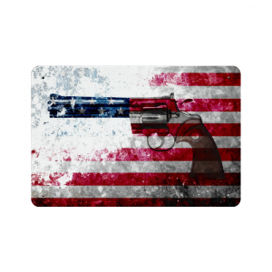 Colt Python 357 Mag on Distressed American Flag Print on Metal Made in America