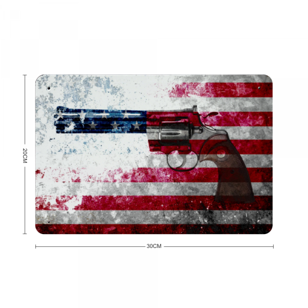 Colt Python 357 Mag on Distressed American Flag Print on Metal Made in America with dimension