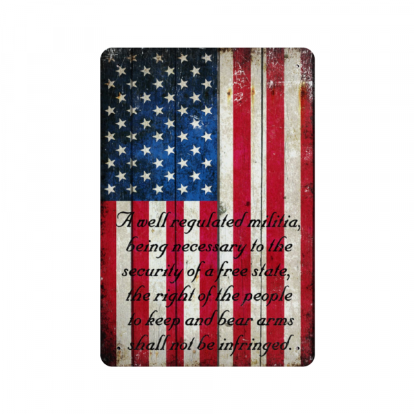 American Flag 2nd Amendment Vertical Print on Metal Sheet Made in the USA