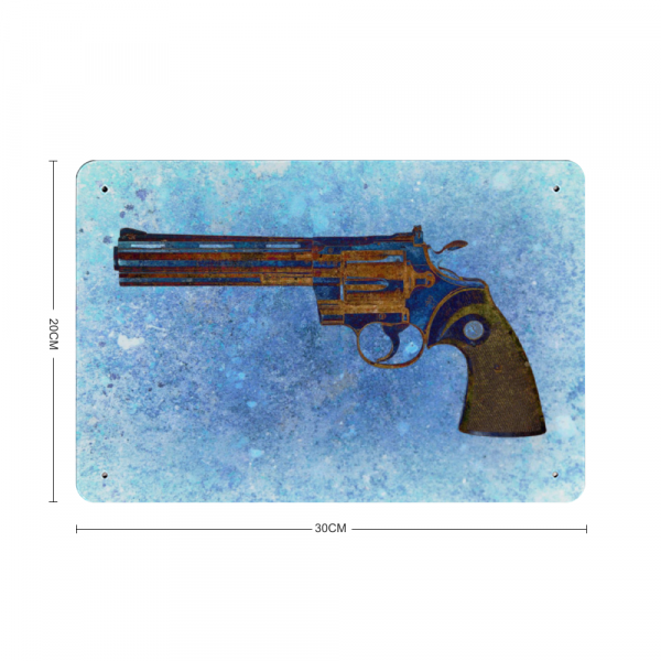 Colt Python 357 Magnum 6 inches Barrel on Blue Background Print on Metal with dimension
