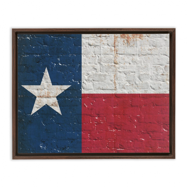 Distressed Texas Flag on Brick Wall Framed Traditional Stretched Canvas Rectangular