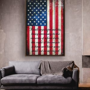 2nd Amendment on Distressed American Flag Painted on Old Barn Wood Print Framed Canvas In Situ