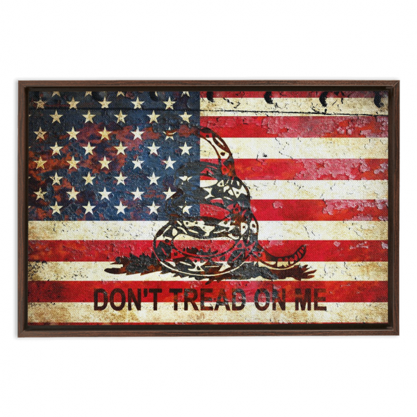 American and Gadsden Flag painted on rusted riveted metal sheet.