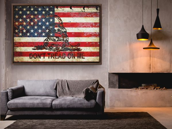 American and Gadsden Flag painted on rusted riveted metal sheet hung on wall