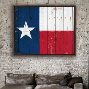 Distressed Texas Flag On Old Barn Wood Framed Traditional Stretched Canvas displayed in modern loft