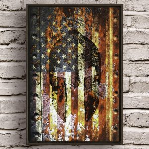 Molon Labe Spartan Helmet and an American Flag overlaid on a rusted metal door hung on brick wall